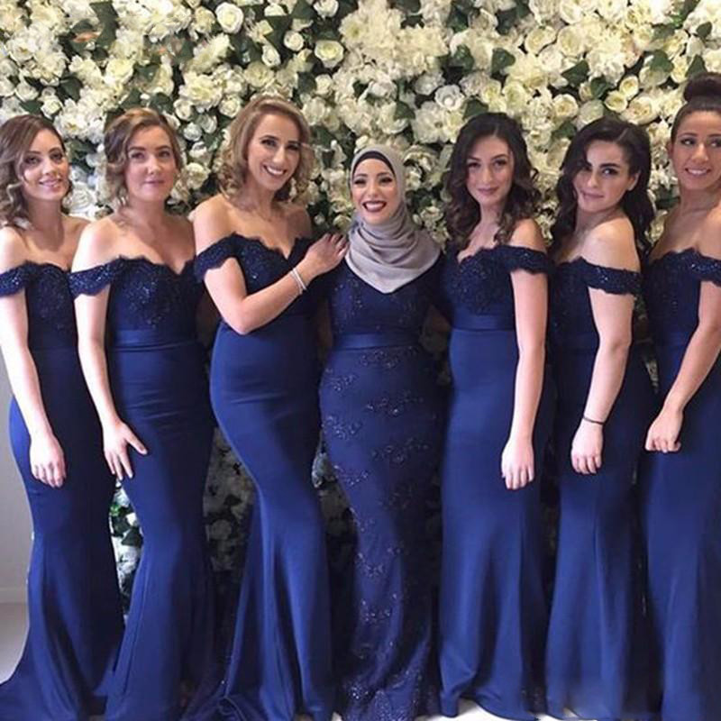 2017 Elegant Prom Party Gowns Vestidos De Festa Sexy Off Shoulder Navy Blue Black Burgundy Appliques Mermaid Bridesmaid Dresses95