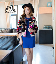 New genuine real natural mink fur coat women's fashion short style color-full multi-color Luxury Winter Jacket Coat