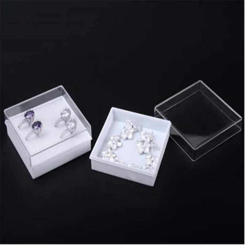Wholesale 5pcs Pack Jewelry Gift Boxes White Pads Clear Plastic Earrings Bracelet Necklace Box Casses