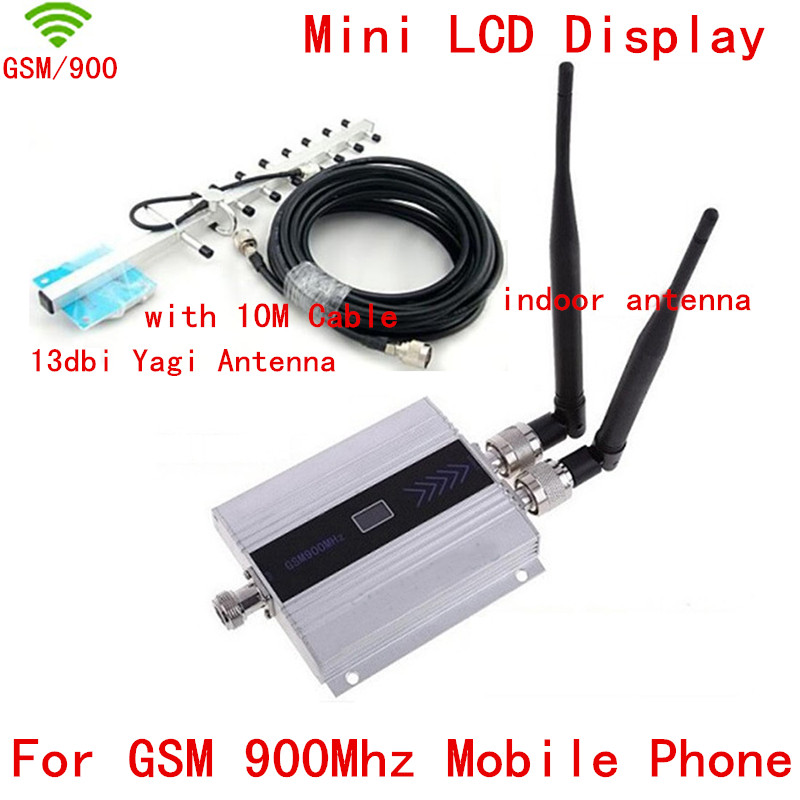 Mobile GSM Signal Repeater Cell GSM Signal Booster With 2pcs Indoor Antenna+ 13db Yagi Antenna Gsm Signal Amplifier LCD Display