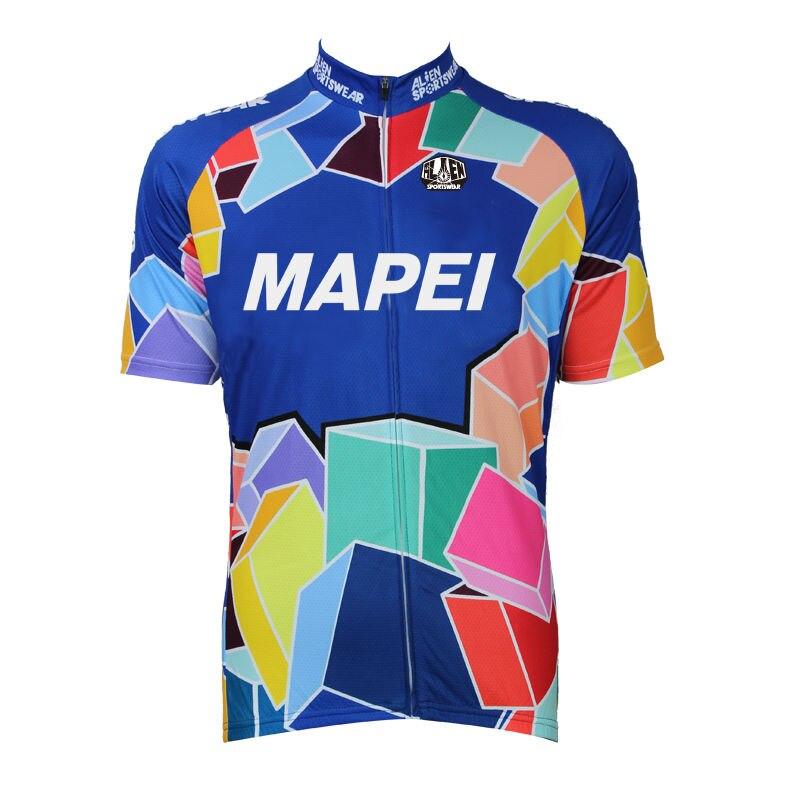 ФОТО Alien SportsWear MAPEI Pattern Men Cycling Jersey top Sleeve Bike Shirt Cycling Multicolor Square Cycling Clothing Size XS-5XL