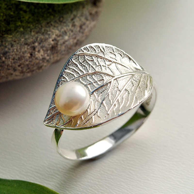 Lotus สนุก Moment Real 925 Sterling Silver Vintage Natural Pearl แฟชั่นแหวนทองแหวน Bijoux