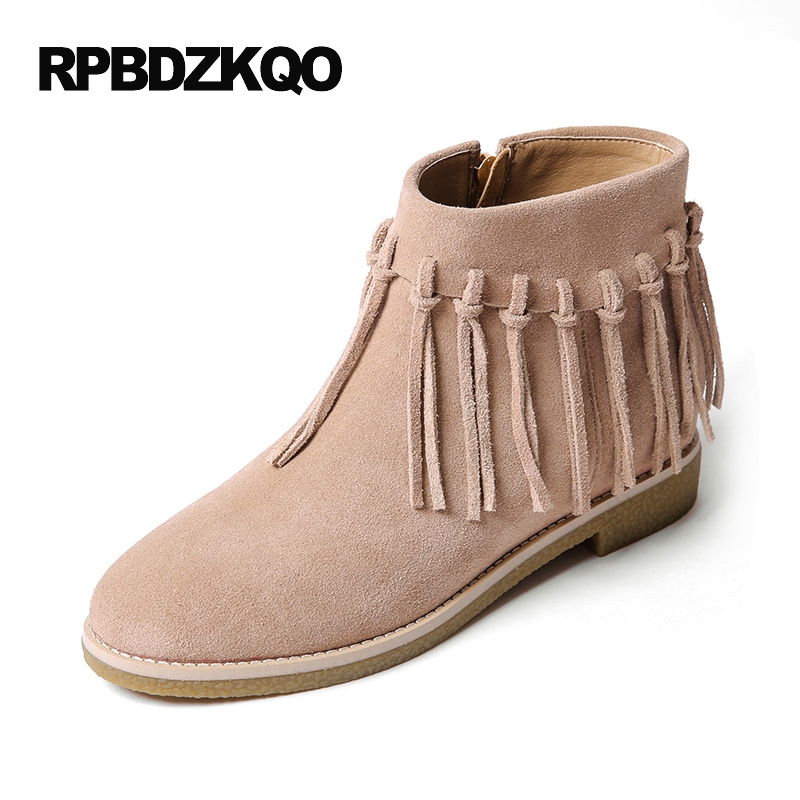 Autumn Booties Chinese Fall Shoes Genuine Leather Side Zip Boots Fringe Women Luxury Flat Fur Ankle 2017 Ladies Female NewAutumn Booties Chinese Fall Shoes Genuine Leather Side Zip Boots Fringe Women Luxury Flat Fur Ankle 2017 Ladies Female New