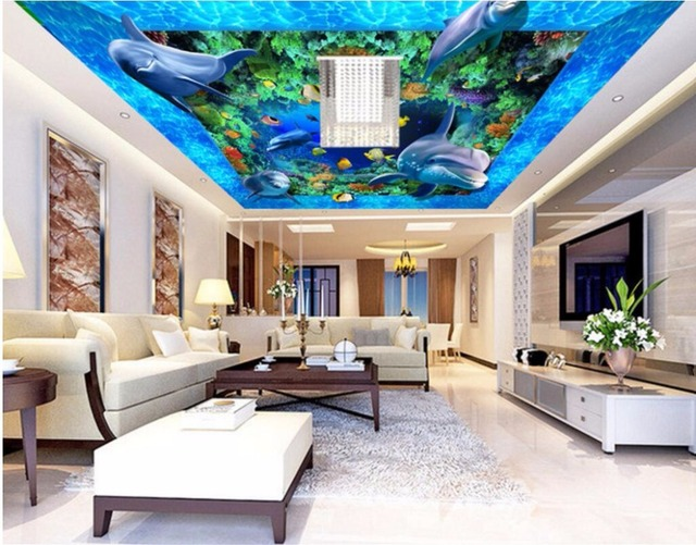 Custom Photo 3d Ceiling Murals Wall Paper Ocean Space Dolphins Corals Decor  Painting 3d Wall Murals Part 75