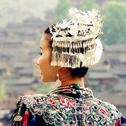 Hmong Miao silver hair accessory hat silver collar  hair jewelry crownpiece hairpin hair stick
