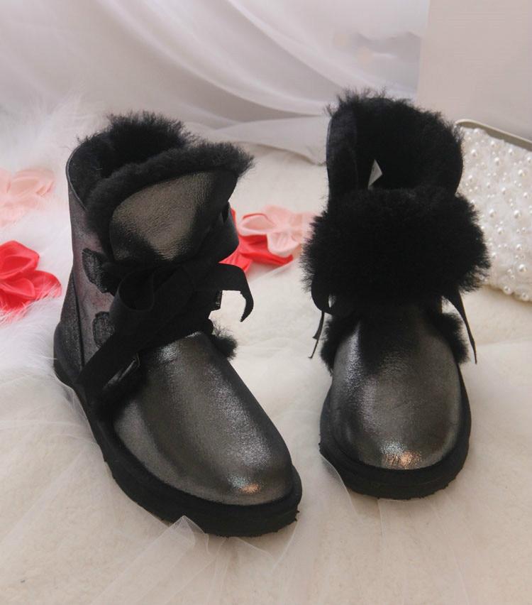 ФОТО High Quality Fashion Women Snow Boots Genuine Sheepskin Leather Boots 100% Natural Fur Wool Warm Winter Women Boots