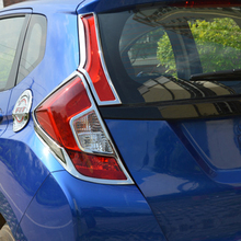 For Honda Jazz FIT 2014 ABS Chrome Accessories Rear Tail Lights Lamp Covers Frame Trim 4pcs Car Quality Styling Sequins fit for 2014 honda fit jazz chrome front rear headlight tail light cover trim