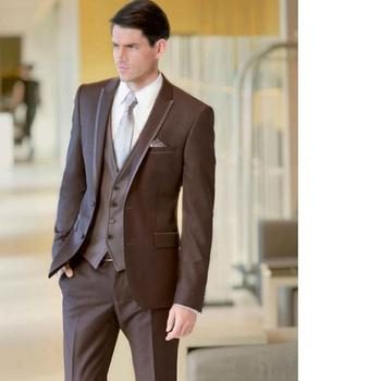 Formal Business Leisure Brown Men Suit 3Pieces(Jacket+Pant+Vest+Tie) New Custom Made High Quality Christmas Party Blazer