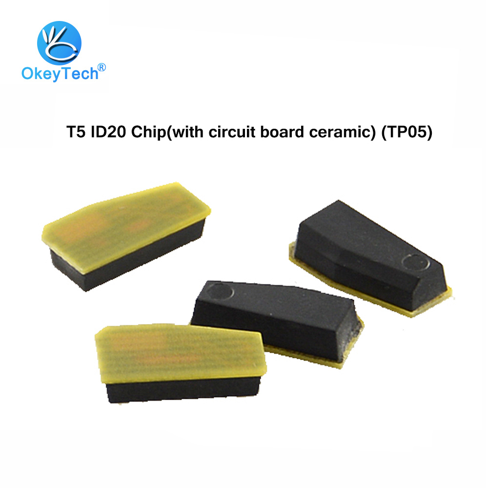 OkeyTech 5pcs/lot T5 ID20 Chip with Circuit Board (TP05) 20-T5 Ceramic Car Key Transponder Chip for Locksmith Tool Free Shipping okeytech 10pcs lot best car key chip t5 id20 ceramic for car key transponder key id t5 transponder chip copy to id 11 12 13 33