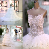 2014 Quality Sparkling Crystal Luxury Diamond Decoration Wedding Dress Tube Top Bandage Luxury Train Wedding Dress