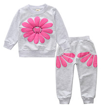 2017 New 2pcs spring autumn children clothing set baby girls sports suit sunflower casual costume DT0262