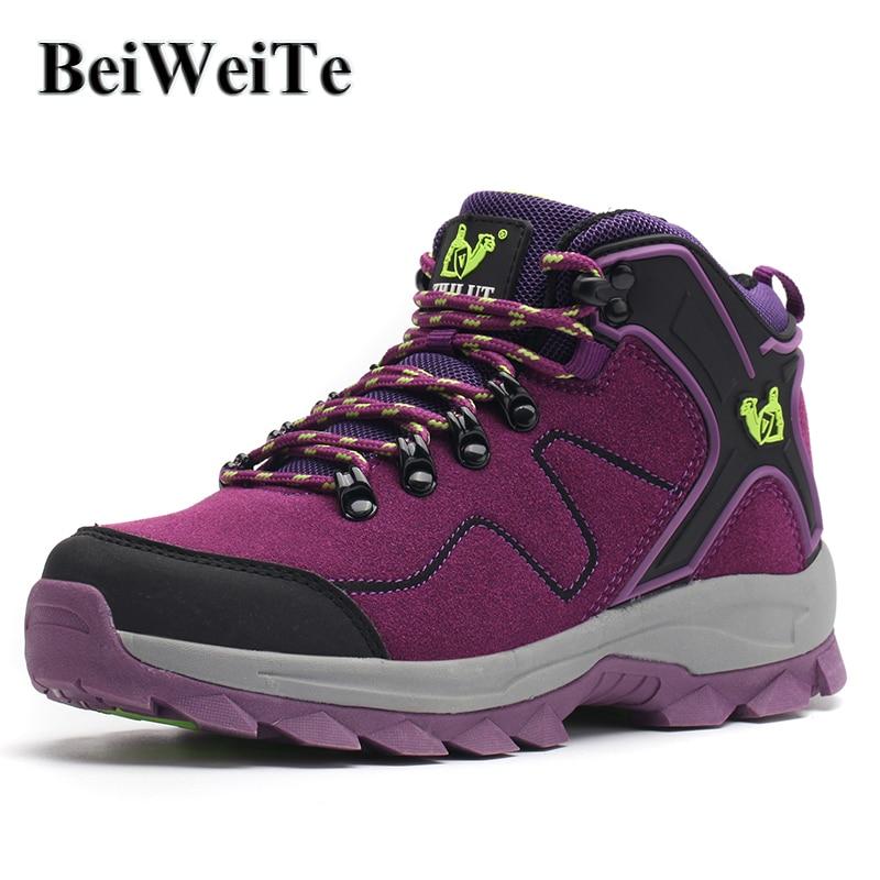 Žene Planinarske cipele Treking Nosive Vodootporna koža Protuklizno penjanje Sportske tenisice za žene Cipele na otvorenom Lovačke čizme
