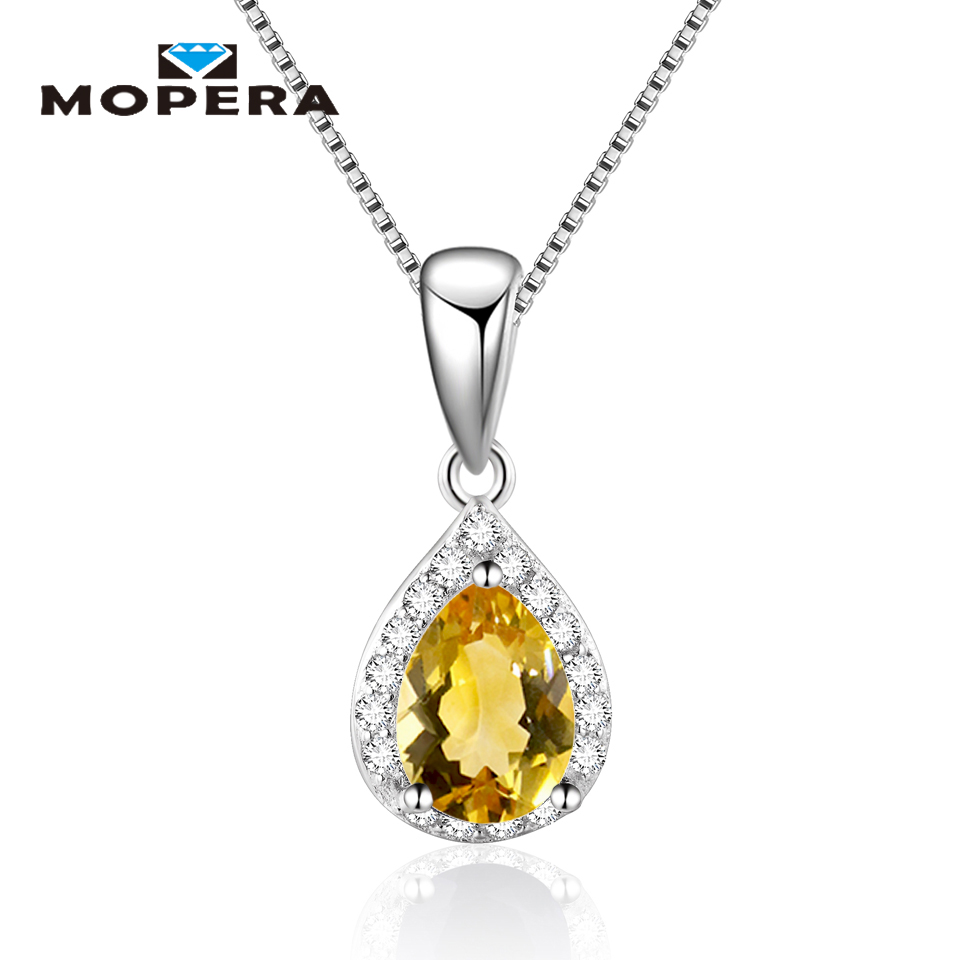 Water Drop Natural Sapphire Amethyst Garnet Pendant Necklaces For ...