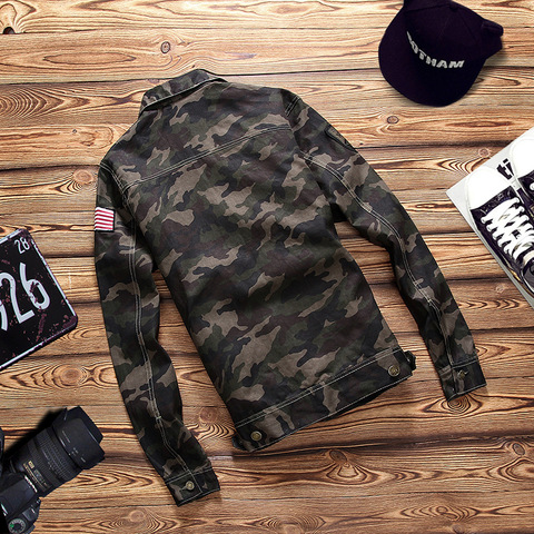 Camouflage 2019 Autumn  Jacket Men Denim Regular Turn-down Cotton Casual Solid Loose Pockets Street Wear Jackets Coats Multan