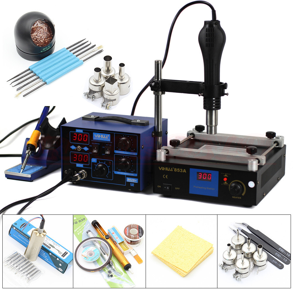 YIHUA 862D 2 in 1 Soldering station 650W SMD Hot Air Gun 75W Soldering Iron 600W