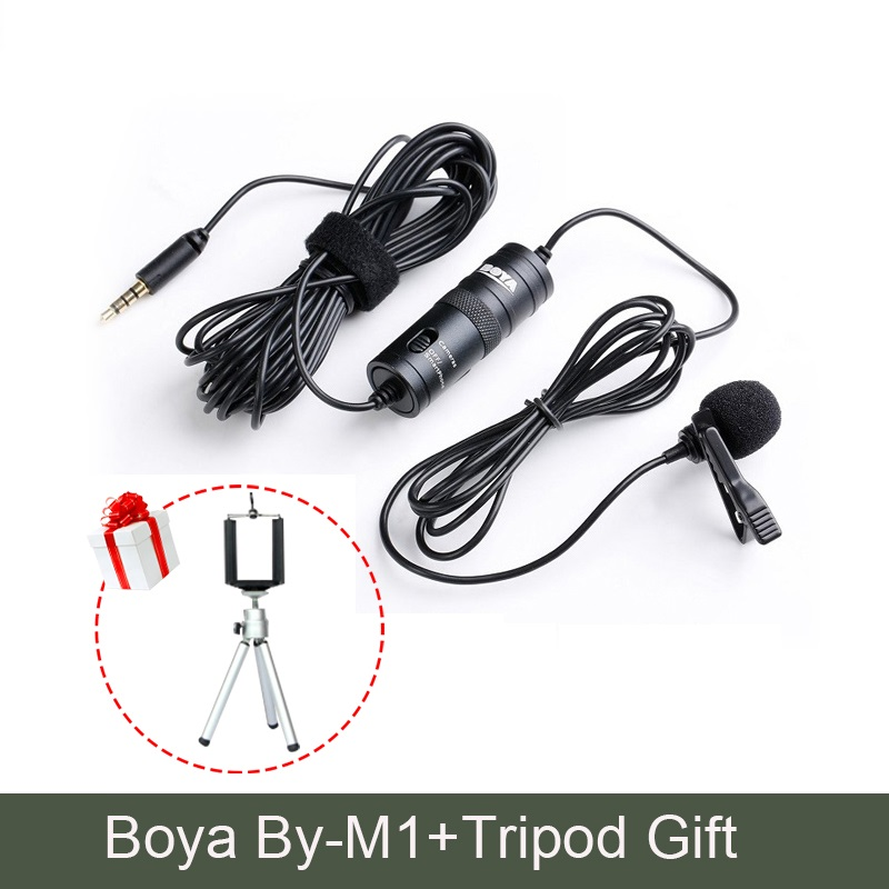 Mini Tripod BOYA by-M1 Lavalier Condenser Microphone DSLR 3.5mm for iPhone X 7 Plus Smartphones Windscreen Windshield Cameras,Camcorders