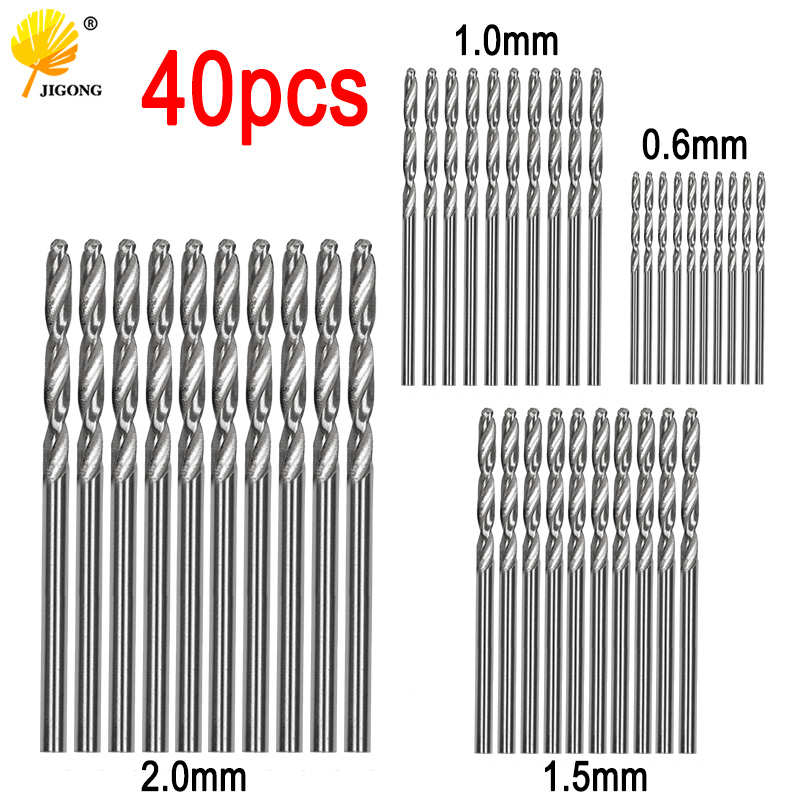 40pcs Drill Bits HSS High Speed Steel Drill Bits Set Tool 0.5mm 1mm 1.5mm 2mm HSS Power Tools