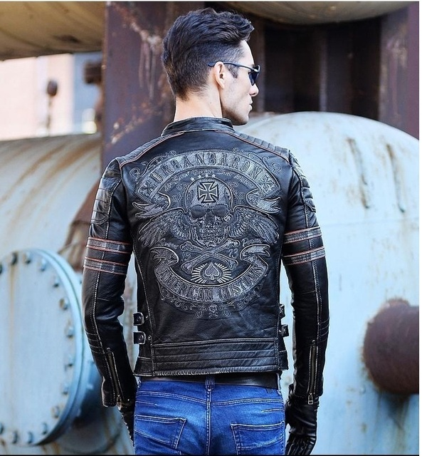 DHL Free shipping.Brand mens skull coat genuine leather Jackets,men's vintage motor biker leather jacket.plus size homme Fitness Men's Jackets & Coats