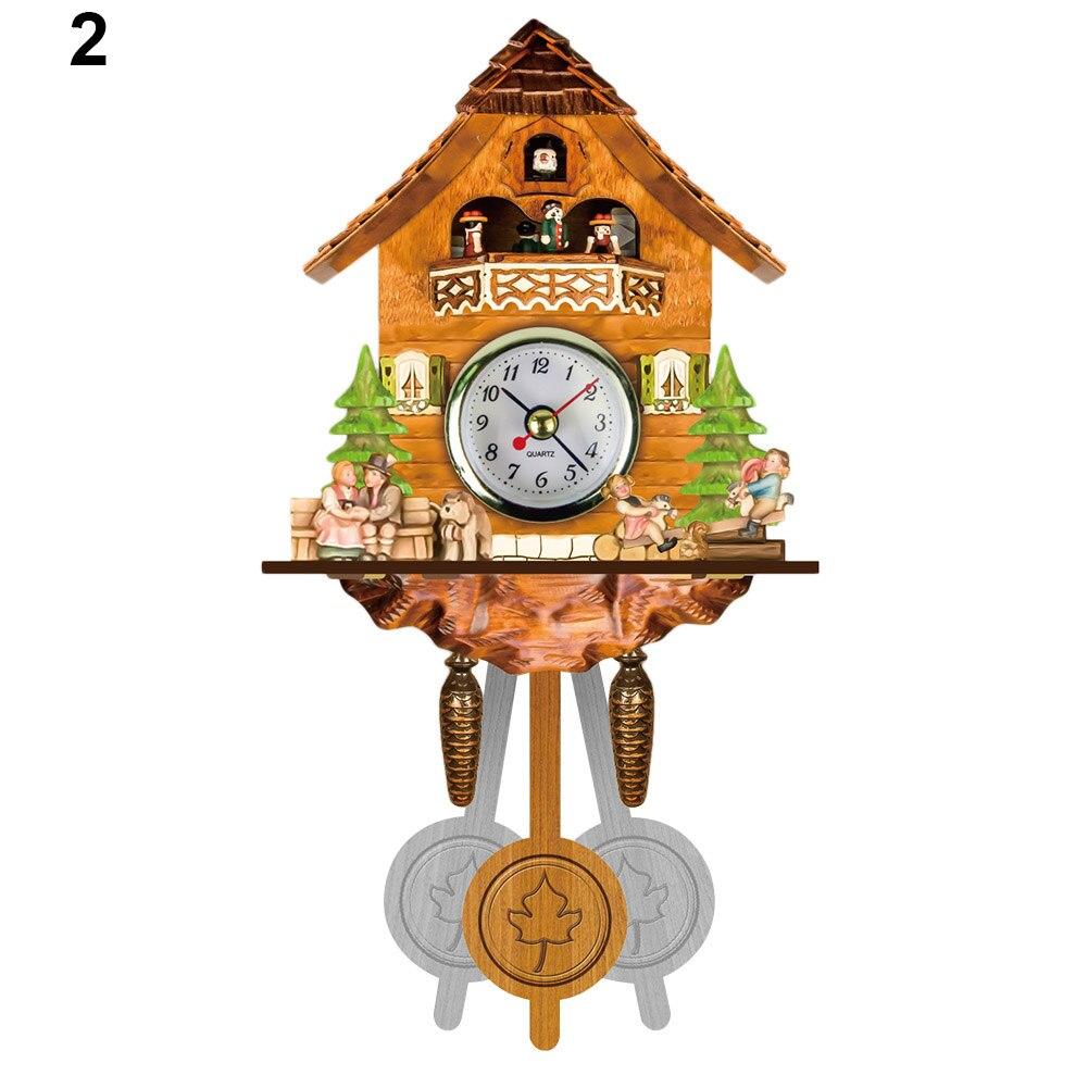 Antique Wooden Cuckoo Wall Clock Bird Time Bell Swing Alarm Watch Home Art Decor PAK55