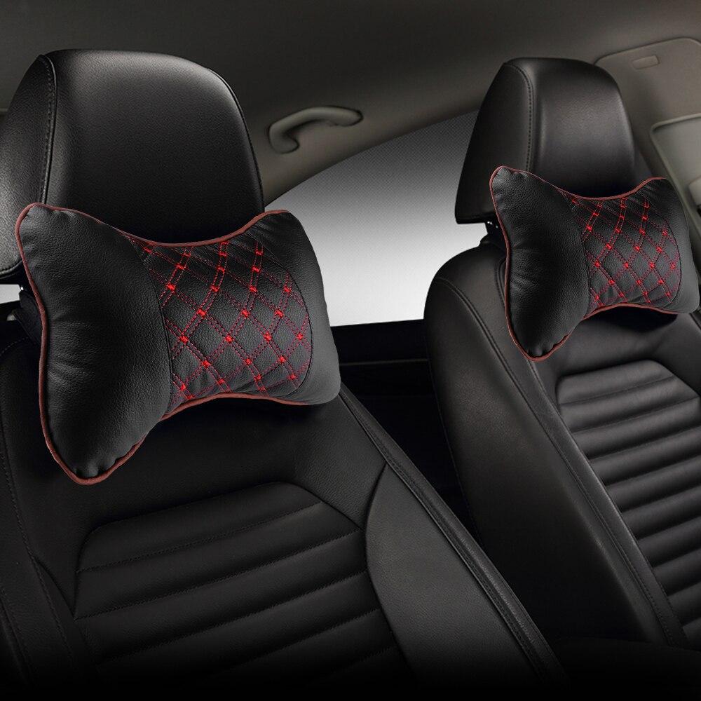 سيارة الرقبة وسادة بولي Leather الجلود PP القطن وسادة سيارة كرسي التطريز مسند الرأس لوازم الرقبة وسادة السلامة للسيارات الداخلية اكسسوارات
