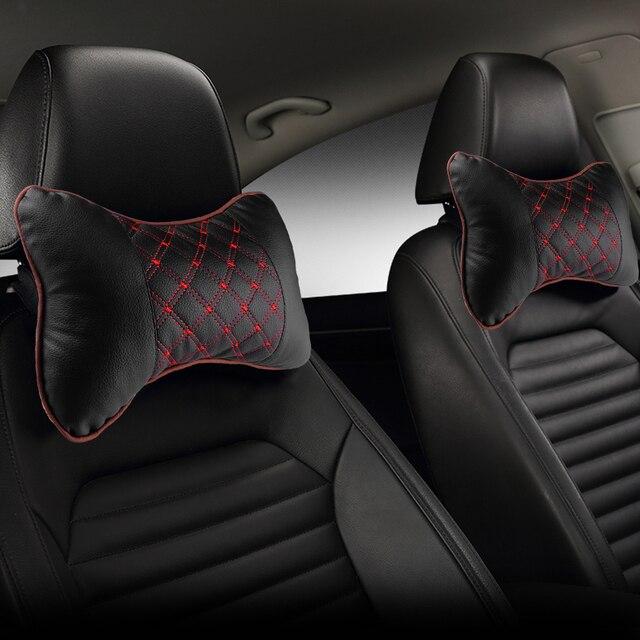 Araba boyun yastık PU deri PP pamuk araba pedi nakış sandalye kafalık malzemeleri boyun emniyet yastık arabalar için iç aksesuarları