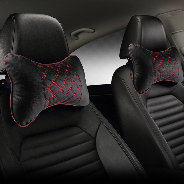 Car Neck Pillow PU Leather PP Cotton Car Pad Embroidery Chair Headrest Supplies Neck Safety Pillow For Cars Interior Accessories