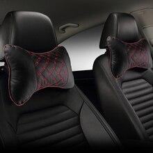 Poduszka pod szyję do samochodu PU skóra PP bawełniana motyw samochodu Pad haft krzesło zagłówek dostarcza szyi poduszka zabezpieczająca do samochodów wyposażenie wnętrz