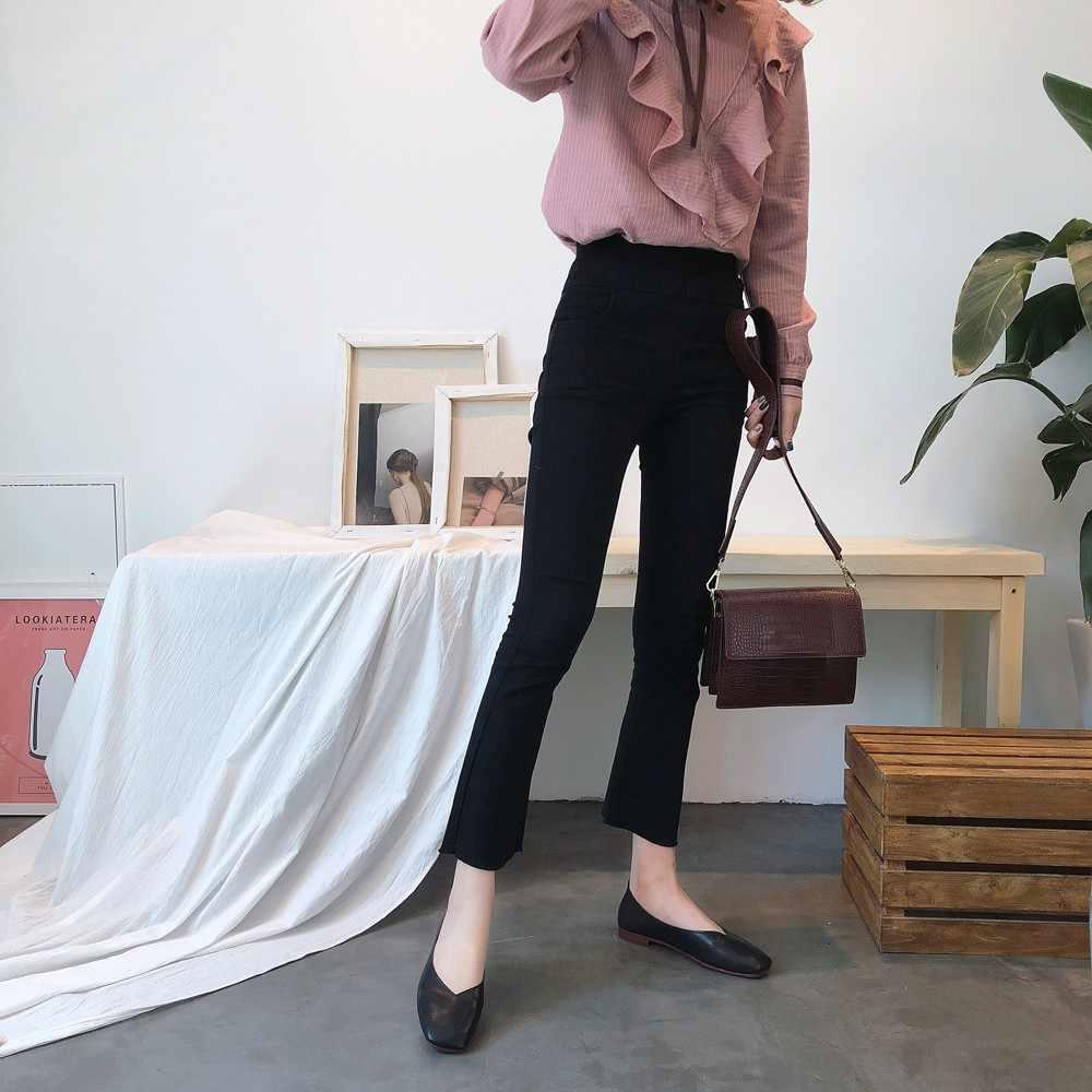 Moda düşük topuklu kaymaz ayakkabı kadın yaz sonbahar kaymaz kare ayak düz kore tarzı sandalet ayakkabı sığ basit ayakkabı