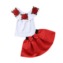 2 Pcs Baby Girls Embroidery Flower Off Shoulder Ruffle Tops T-shirt Bow Tie Skirt Clothes Set Outfits 2019 girls open shoulder flower embroidery top