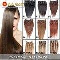 14-24inch Virgin Remy Hair Clip In Human Hair Extensions 70g-120g Full Head Set Color Black Light Blonde Brazilian Straight Hair