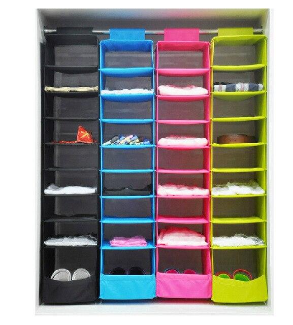 Colorful 9 Shelf Ikea Style Hanging Closet Organizer Washable Shoe Organizer  Foldable Clothes Storage Closet