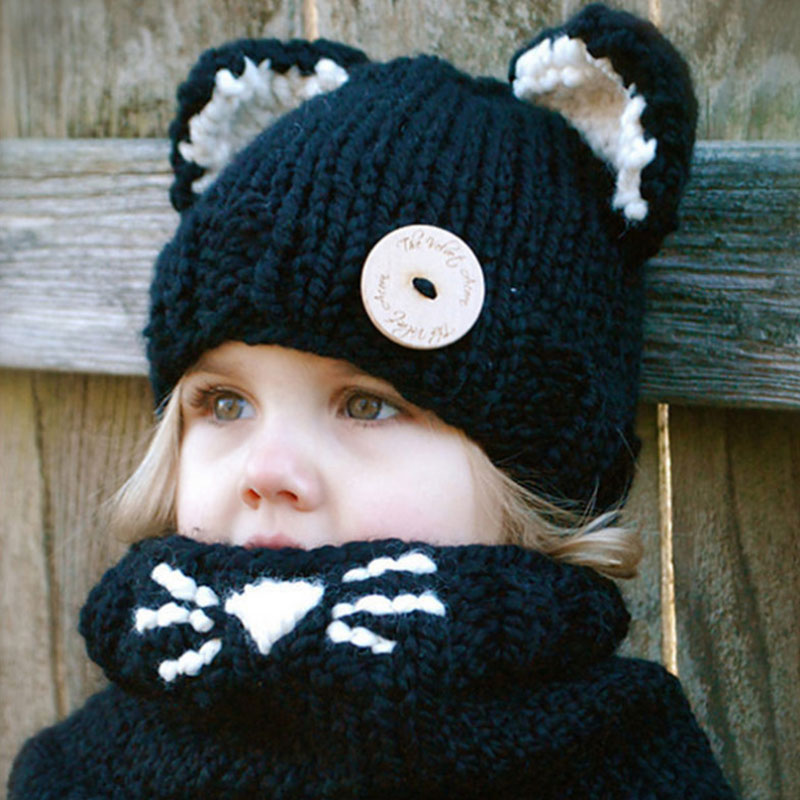 Girls Kids Hat And Scarf Set For Children Winter Set For Children Scarf Hat Set Girls Boys Knitted Hats Cute Ears Kids Gift