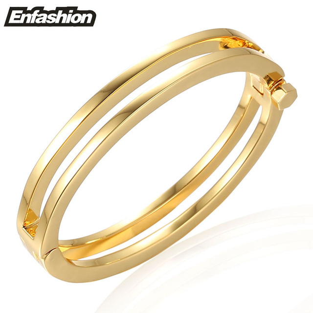 Enfashion 2 Rows Screw Bracelet Noeud armband Gold Plated Bangle Bracelet For Women Cuff Bracelets Manchette Bangles Pulseiras