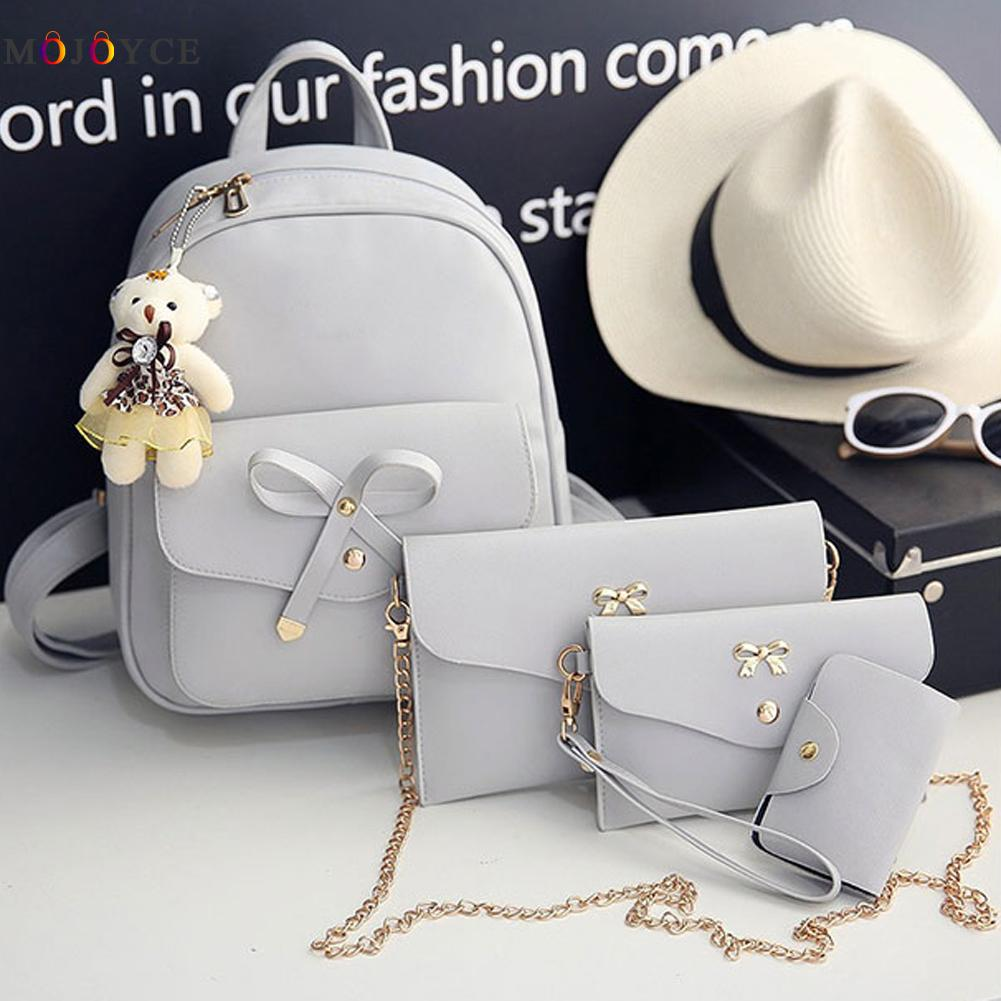 4 Pcs/set Women Backpack Small Size Fashion Teenage Girls Pu Leather Backpacks With Purses Mochila Feminina #2
