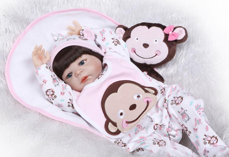 57cm Reborn Bebe Girl Doll 22 Full Silicone Vinyl Body Newborn Doll Kids Play House Toy Gift Boneca57cm Reborn Bebe Girl Doll 22 Full Silicone Vinyl Body Newborn Doll Kids Play House Toy Gift Boneca