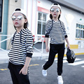 Spring and Autumn kid girl long sleeve striped hooded two piece set 2017 children fashion leisure clothing suit