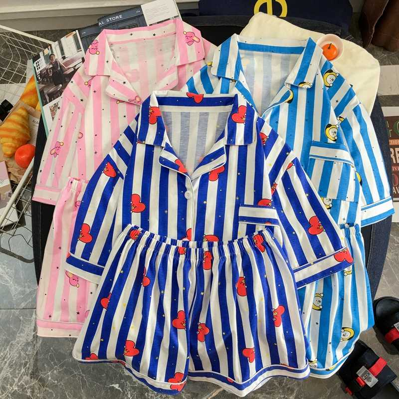 New Fashion Pajama Sets Kpop Two Piece Set Women Summer Sleepwear 2 Piece Set Female Harajuku Short Sleeve Shirts and Pants