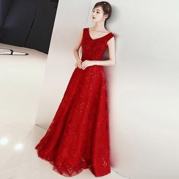 Wine Red V-Neck A Line Evening Dresse 2018 New Haute Couture Sleeveless Banquet Party Dress Evening Gowns vestido de festa