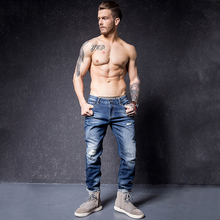 BASIC POWER Ripped Jean Men Blue Warm Jeans Pants Winter Male Cotton Straight Slim Long Skinny Denim Trousers 3103