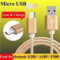 Pés de nylon micro usb data sync & charge cable para senseit a200 A109 E500 E400 R390 + R390 L301 R280 P4 3.5 V8 Cabo de Carregamento