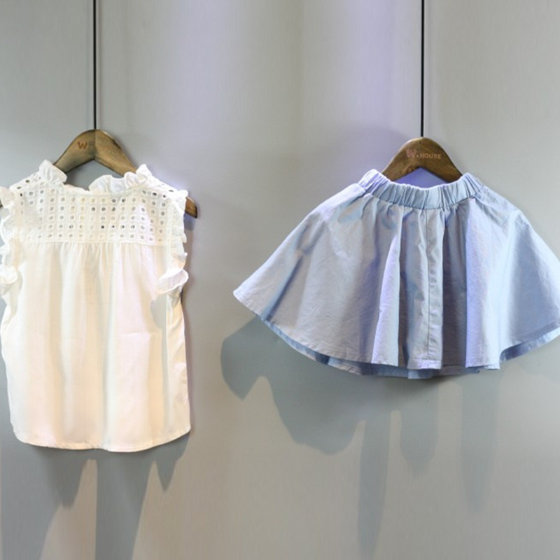 HTB1U6x.SXXXXXaZXpXXq6xXFXXXF - 2-8 Years Kids Clothes for Girls The Bow Skirt and Lace Top Summer Suit Korean Style Children's Clothing Sets Baby Toddler Set