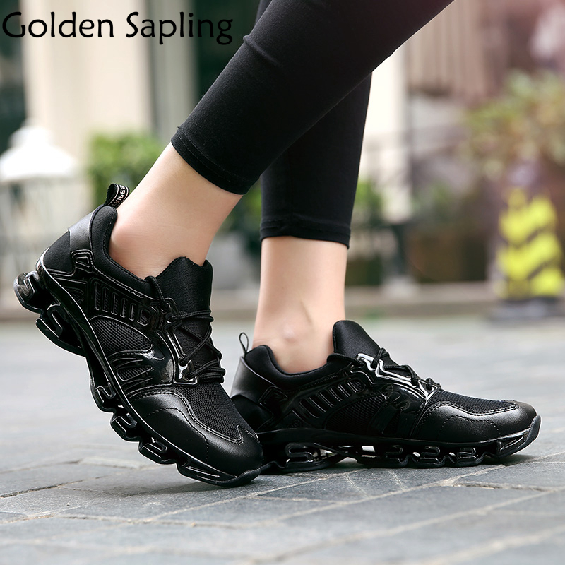 Golden Sapling Women's Running Shoes Black Women Sport Sneakers Breathable Air Mesh Sport Shoes Woman Cushion Women's Sneakers peak sport speed eagle v men basketball shoes cushion 3 revolve tech sneakers breathable damping wear athletic boots eur 40 50