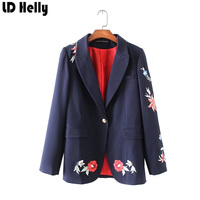 LD Helly Vintage 2017 Women Floral Embroidery Blazers Jacket Coats Single Button Notched Long Sleeve Casual