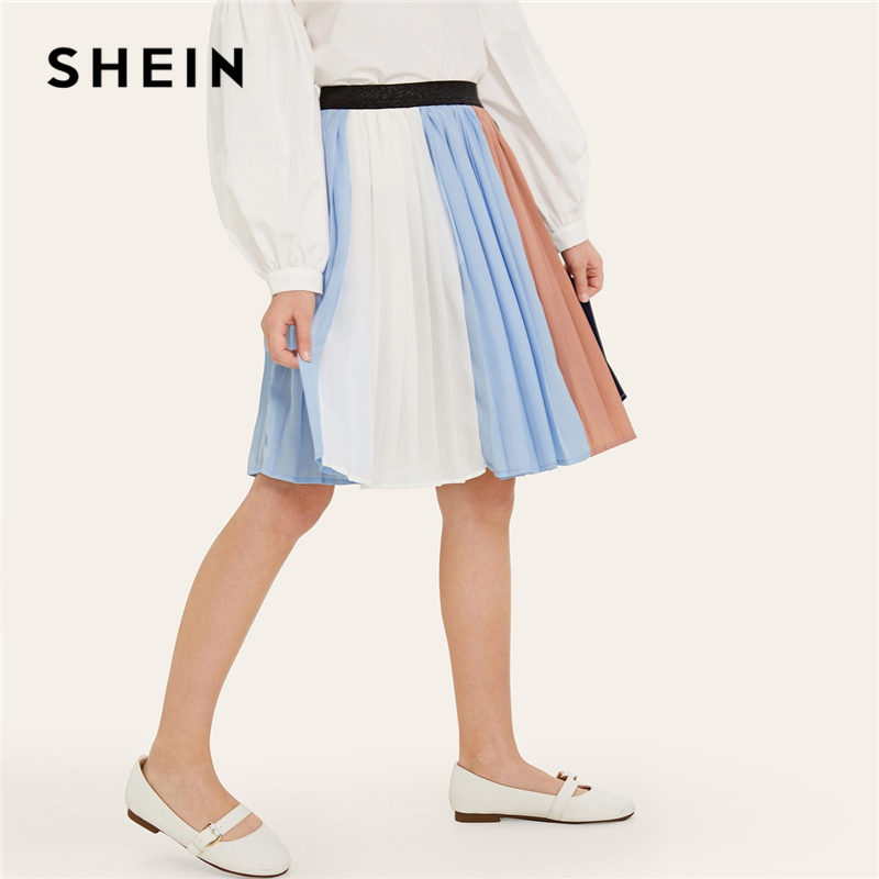 SHEIN Kiddie Girls Glitter Waist Colorblock Pleated Casual Skirt Kids Bottom 2019 Summer Knee Length Child A Line Flared Skirts mini pleated a line dress