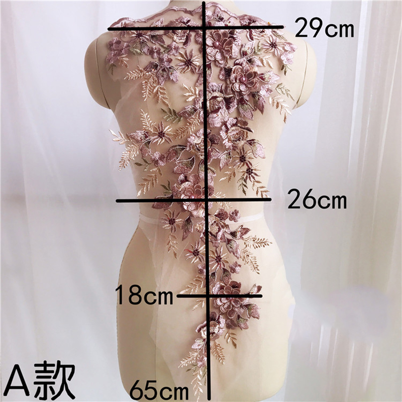 1 Piece 3D Wedding Dress Applique DIY Bridal Headdress Pearls Lace Collar Lace Fabric Patch Embroidery Appliqued in Lace from Home Garden