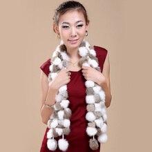 2016 Женщин Высокого качества зима шарф Подлинной импортированы мех Кролика 108 Мяч шарфы России женской Моды теплый меховой шарф