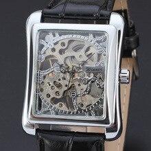 Серебряный тон полые мужские Мальчики заводные механические часы кожаный ремешок наручные часы хороший Рождественский подарок цена A420