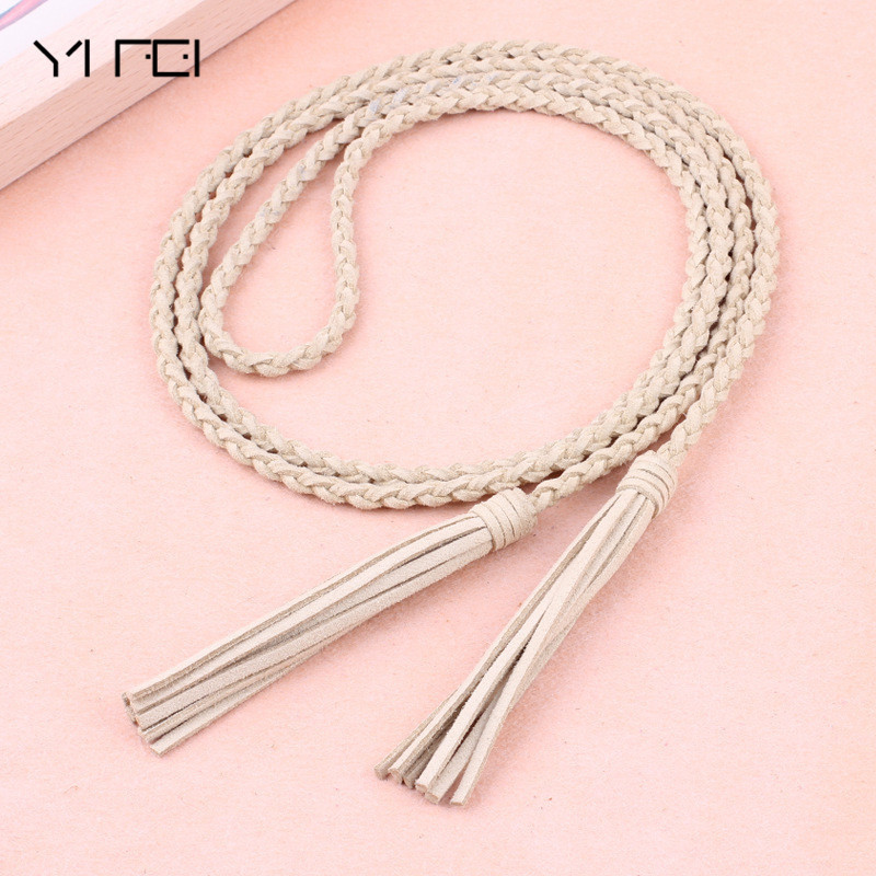 Tassel Braided Waist Rope Thin Waistband New Fashion Knit Women Belt Cummerbund For Dress Shorts Jeans Skirt Apparel