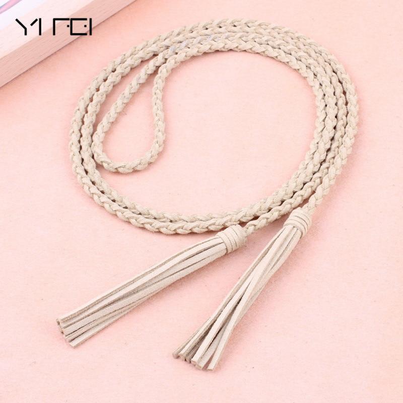 Tassel Braided Waist Rope Thin Waistband New Fashion Knit Women Belt Cummerbund For Dress Shorts Jeans Skirt Apparel