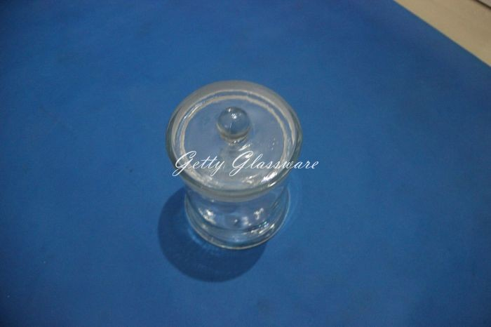 Vintage museum specimen jar bottle 120x150mm, ground mouth with lid shift
